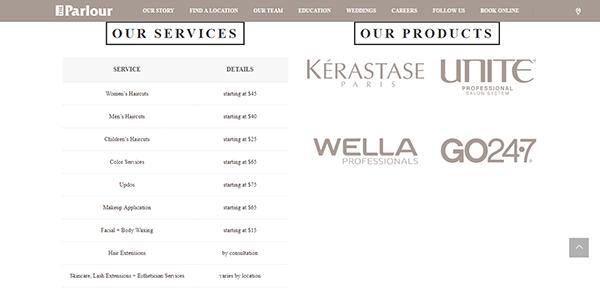 The Parlour Our SERVICES