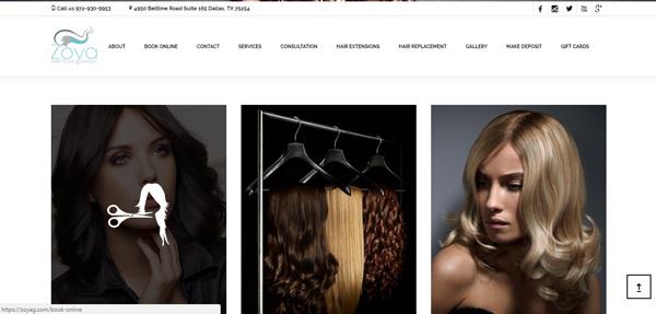 Zoya Salon website Look